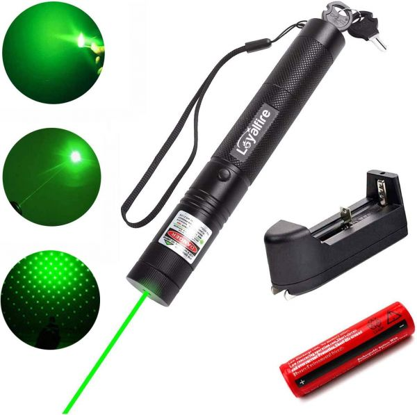 Green Light Pointer, Loyalfire Tactical High-Power Pen Visible Beam Flashlight Torch with Adjustable Focus for Hunting Hiking Outdoor Projector Travel, Cat Dog LED Interactive Toy