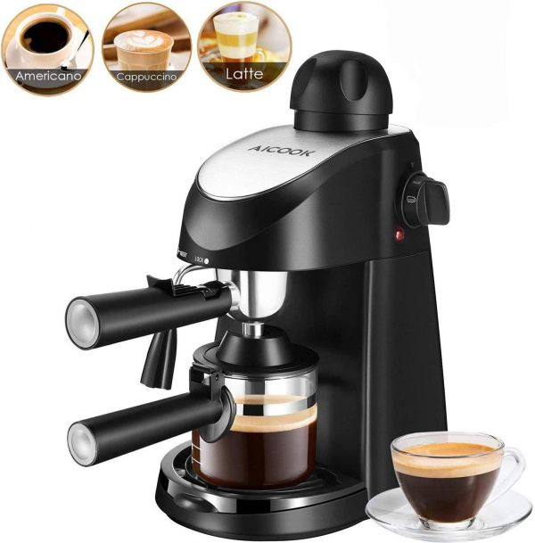 Espresso Machine, Aicook 3.5Bar Espresso Coffee Maker, Espresso and Cappuccino Machine with Milk Frother, Espresso Maker with Steamer, Black