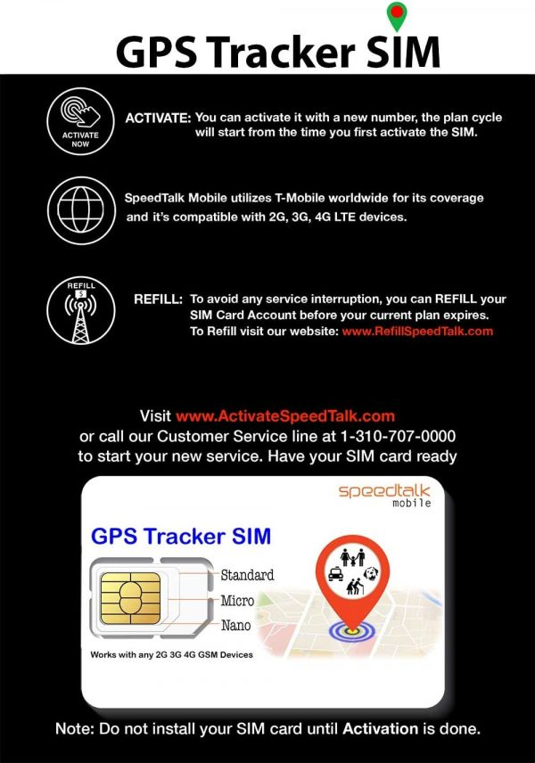 GPS Tracker Triple Cut SIM Card Starter Kit - No Contract (Universal SIM: Standard, Micro, Nano) for 4G Devices - Global Coverage