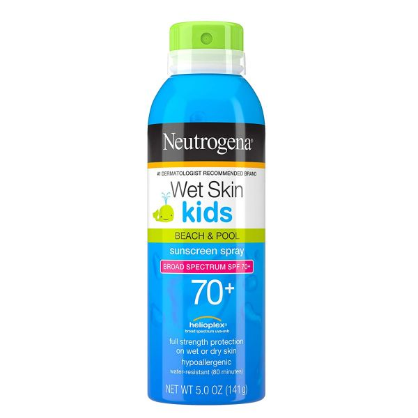 Neutrogena Wet Skin Kids Sunscreen Spray, Water-Resistant and Oil-Free, Broad Spectrum SPF 70+, 5 oz