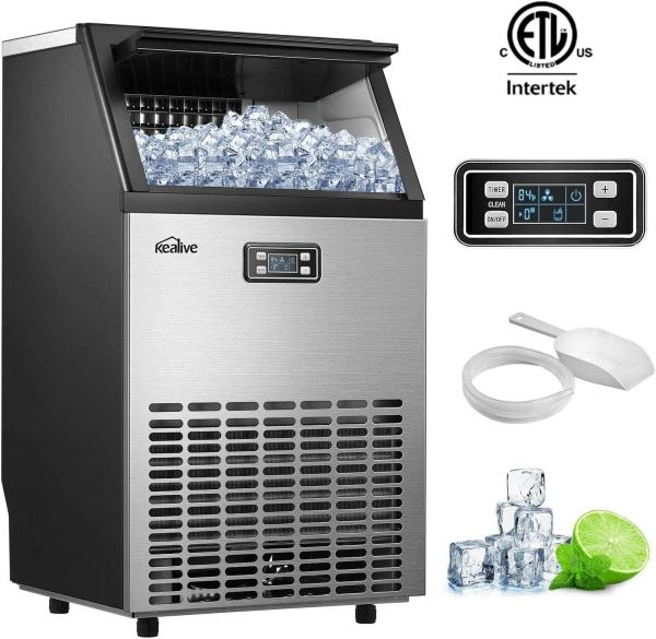 Kealive Commercial Ice Maker, Stainless Steel Freestanding Ice Maker Machine, 99lbs Ice in 24hrs with 33 lbs Storage Capacity, Self-Cleaning LCD Control Panel with Ice Scoop Connection Hose