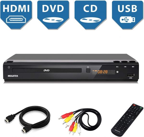 DVD Player, Megatek Home DVD Player for TV with HDMI Full HD 1080p Upscaling, USB Port, Plays Multi Formats, All-Region Code Free DVDs, Progressive-scan, Metal Case, Compact Design, Free HDMI Cable