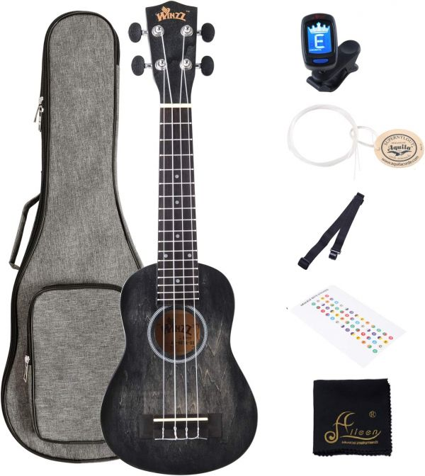 WINZZ 21 Inches Soprano Ukulele Vintage Hawaiian with Bag, Tuner, Strap, Extra Strings, Fingerboard Sticker, Black