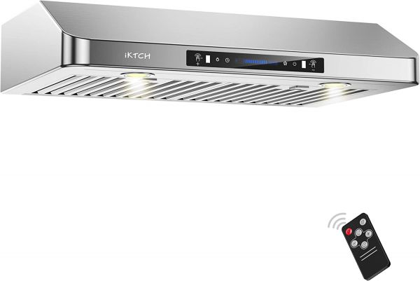 "IKTCH 30 Inch Under Cabinet Range Hood 900-CFM | 4 Speed Gesture Sensing/Touch Control Switch Panel, Kitchen Vent with 2 Pcs Baffle Filters, Rectangle Top/Rear Vent Options 3-1/4""x10"" Interchangeable"