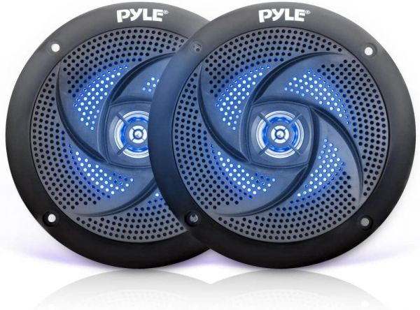 Pyle Marine Speakers - 4 Inch 2 Way Waterproof and Weather Resistant Outdoor Audio Stereo Sound System with LED Lights, 100 Watt Power and Low Profile Slim Style - 1 Pair PLMRS43BL (Black)