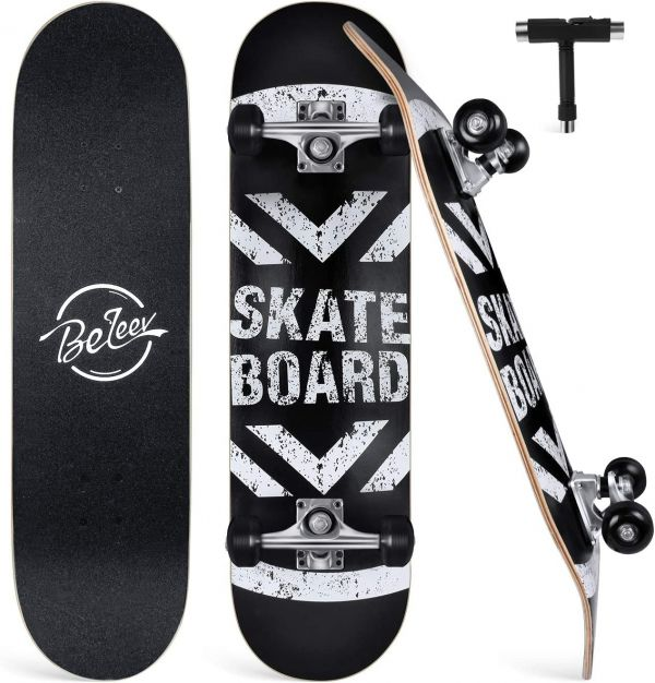 "BELEEV Skateboards for Beginners, 31""x8"" Complete Skateboard for Kids Teens & Adults, 7 Layer Canadian Maple Double Kick Deck Concave Cruiser Trick Skateboard with All-in-One Skate T-Tool"