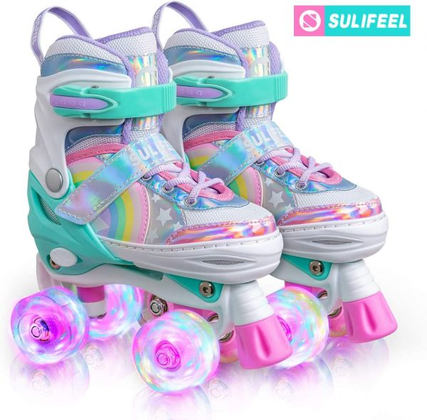 SULIFEEL Rainbow Unicorn 4 Size Adjustable Light up Roller Skates for Girls Boys for Kids