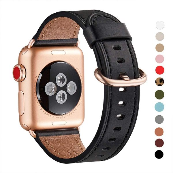 WFEAGL Compatible iWatch Band 40mm 38mm, Top Grain Leather Band with Gold Adapter (The Same as Series 5/4/3 with Gold Aluminum Case in Color) for iWatch Series 5/4/3/2/1(Black Band+Rosegold Adapter)