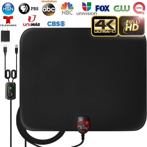 [2020 LATEST] Amplified HD Digital TV Antenna Long 180 Miles Range - Support 4K 1080p Fire tv Stick and All Older TVs Indoor Powerful HDTV Amplifier Signal Booster - 18ft Coax Cable/AC Adapter