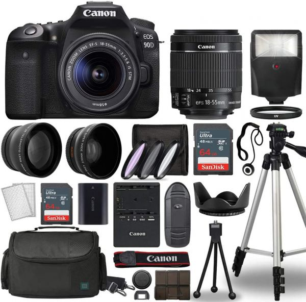 Canon EOS 90D Digital SLR Camera Body with Canon EF-S 18-55mm f/3.5-5.6 is STM Lens 3 Lens DSLR Kit Bundled with Complete Accessory Bundle + 128GB + Flash + Case/Bag & More - International Model
