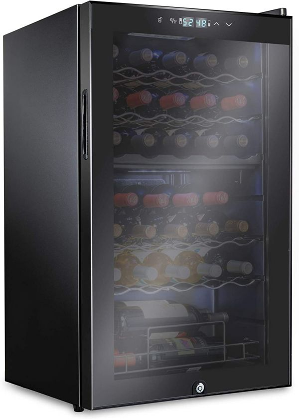 Ivation 33 Bottle Dual Zone Wine Cooler Refrigerator w/Lock | Large Freestanding Wine Cellar For Red, White, Champagne & Sparkling Wine | 41f-64f Digital Temperature Control Fridge Glass Door Black