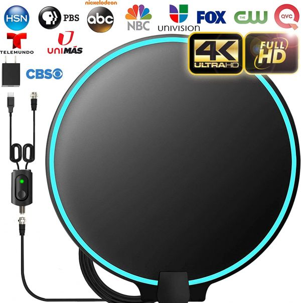[Upgraded 2020] Amplified HD Digital TV Antenna Long 200+ Miles Range - Support 4K 1080p Fire tv Stick and All Older TVs Indoor Powerful HDTV Amplifier Signal Booster - 18ft Coax Cable/AC Adapter