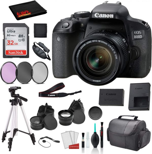 Canon EOS 800D (Rebel T7i) 18-55mm is STM Lens (Black) Bundle SanDisk 32gb SD Card + 3PC Filter Kit + More - International Model