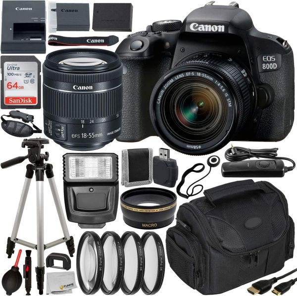 Canon EOS Rebel 800D (T7i) DSLR Camera w/ 18-55mm Lens, Essential Accessory Bundle – Includes: SanDisk Ultra 64GB SDXC Memory Card, Digital Slave Flash, Professional Camera Bag & More