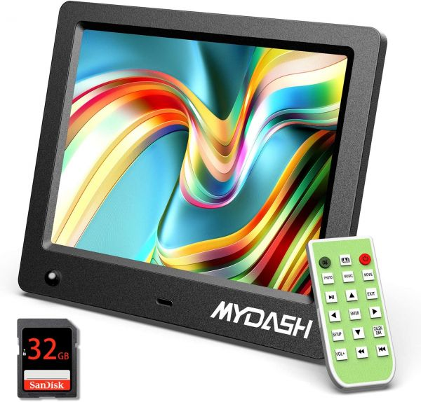 MYDASH Digital Photo Frame 8 Inch,Digital Picture Frame with IPS Screen, [Built in 32GB Internal Storage] Support 1080P Video/Motion Sensor/Auto-Rotate/Background Music