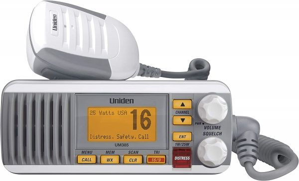 Uniden UM385 25 Watt Fixed Mount Marine Vhf Radio, Waterproof IPX4 with Triple Watch, Dsc, Emergency/Noaa Weather Alert, All Usa/International/Canadian Marine Channels, Memory Channel Scan, White