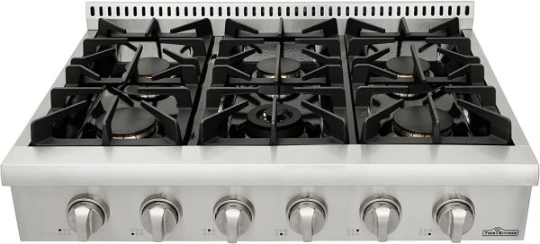 Thorkitchen Pro-Style Gas Rangetop with 6 Sealed Burners  36 - Inch, Stainless Steel HRT3618U