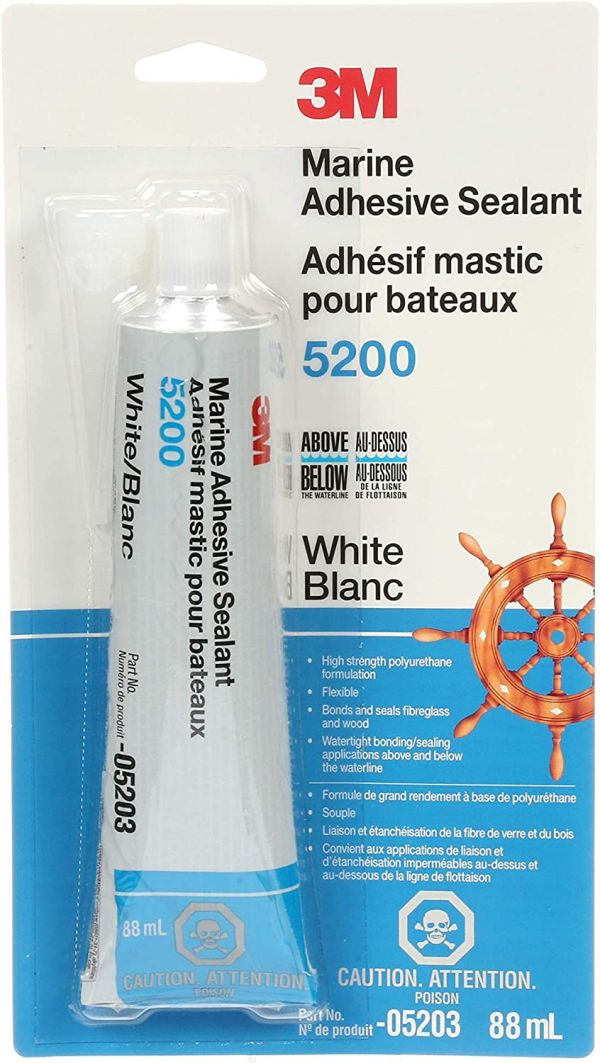 3M Marine Adhesive Sealant 5200 (05203) – Permanent Bonding and Sealing for Boats and RVs – White – 3 Ounces