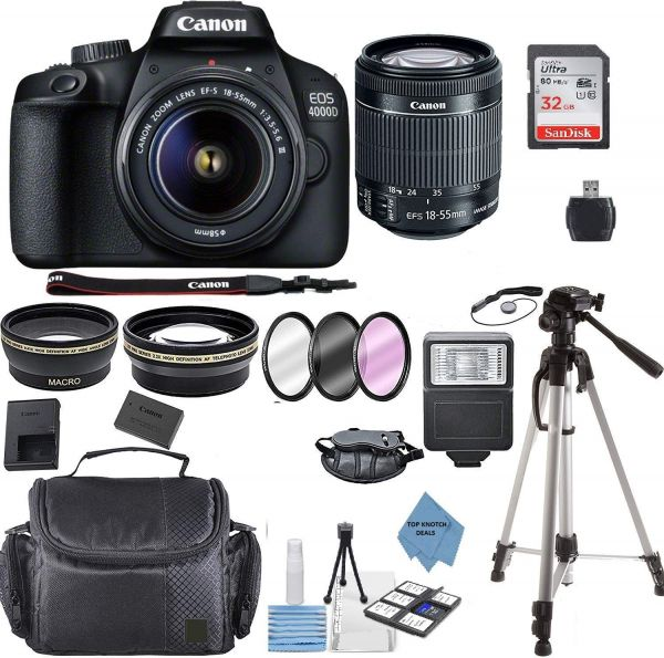 Canon EOS 4000D Digital SLR Camera w/ 18-55MM DC III Lens Kit (Black) with Accessory Bundle, Package Includes: SanDisk 32GB Card + DSLR Bag + 50'' Tripod+TOPKNOTCH Deals Cloth(International Model)