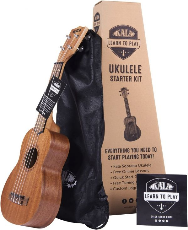 Official Kala Learn to Play Ukulele Soprano Starter Kit, Satin Mahogany – Includes online lessons, tuner app, and booklet (KALA-LTP-S)