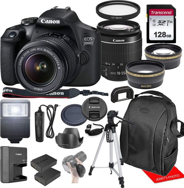 Canon EOS 2000D / Rebel T7 w/Canon EF-S 18-55mm F/3.5-5.6 III Zoom Lens & Professional Accessory Bundle W/ 128GB Memory Card & Back-Pack Case & Spare Battery & More