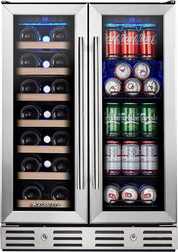 Kalamera 24 Beverage and Wine Cooler Dual Zone Built-in and Freestanding with Stainless Steel Door - Beer, Wine, Soda And Drink