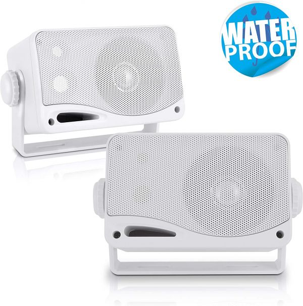 3-Way Weatherproof Outdoor Speaker Set - 3.5 Inch 200W Pair of Marine Grade Mount Speakers - in a Heavy Duty ABS Enclosure Grill - Home, Boat, Poolside, Patio, Indoor Outdoor Use - Pyle PLMR24 (White)